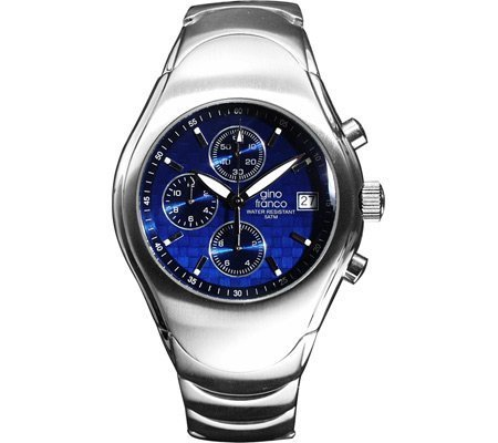 Gino Franco Men's Round Stainless Steel Chronograph Bracelet Watch #991BL