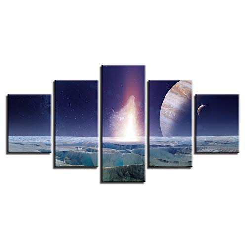(Dxzo HD Gedruckt Kunst Poster Dekoration 5 Stücke Abstrakte Erde Planeten Leinwand Malerei Modulare Bild Home Wohnzimmer Wand)
