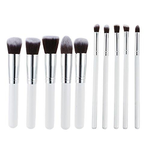 Abody bois Lot de 10 feuilles de maquillage brosses pinceaux maquillage professionnel pinceaux Kit Blanc
