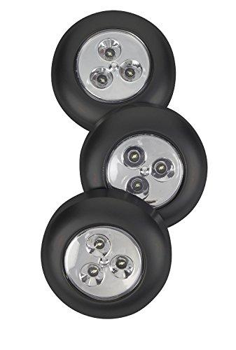 3 Stück 3LEDS Schrankbeleuchtung DIY Stick-on Anywhere Touch LED Leuchte Tap Lampe Push Licht Touch Lampe Batteriebetrieben für Kleiderschrank, Auto, Dachboden, Küche, Gang, Weiß