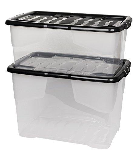 """2 Stück Aufbewahrungsbox """"Curve"""" mit Deckel aus transparentem Kunststoff. Nutzvolumen 65 und 42 Liter. Stapelbar, nestbar, einsehbar. Mit Deckel."""