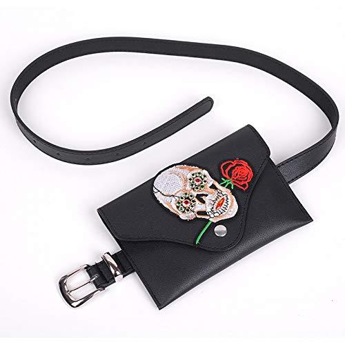 Unbekannt Women's Pockets hip Bag Leg Bag Shoulder Strap Bag Belt Bag European and American Fashion Ladies Pocket pin Buckle PU Leather Belt, 骷髅 Style -