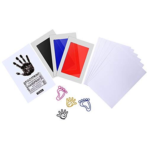PChero Baby Stempelkissen, ungiftig Fußabdruck und Handprint Kit, ideal für Familie Andenken Baby Shower Geschenk und Registrierung (3 Tinte & 6 Impressum Karten)