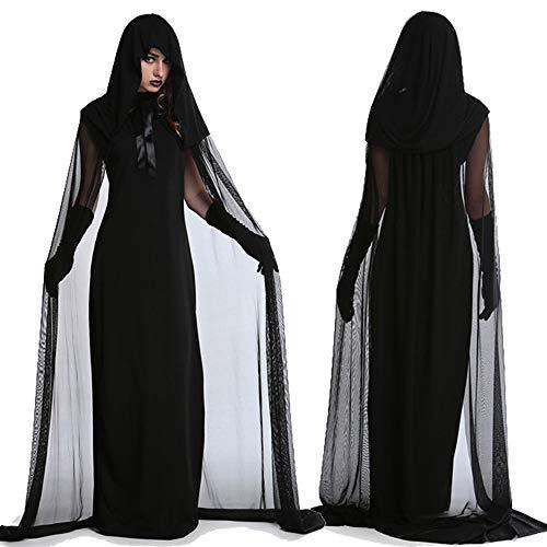 Youth Union Halloween Kostüme Damen Geisterbraut Böse Königin Cosplay Abendkleid Lange mit Kapuze Ausführen Schwarz ()