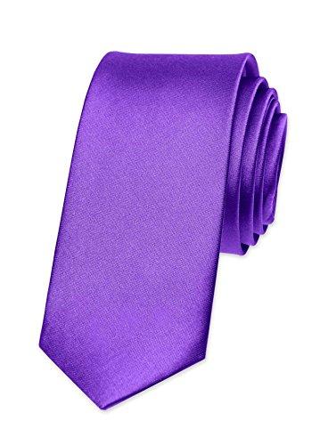 Autiga Krawatte Herren Hochzeit Konfirmation Slim Tie Retro Business Schlips schmal lila