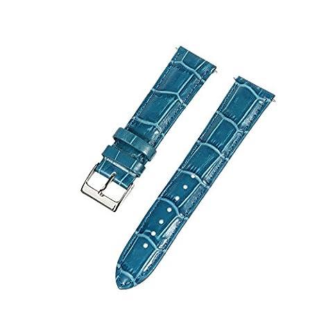 20mm Bleu Bracelet Croco en cuir piqué Grain rembourré en cuir–Unisexe–Compatible avec Timex Weekender