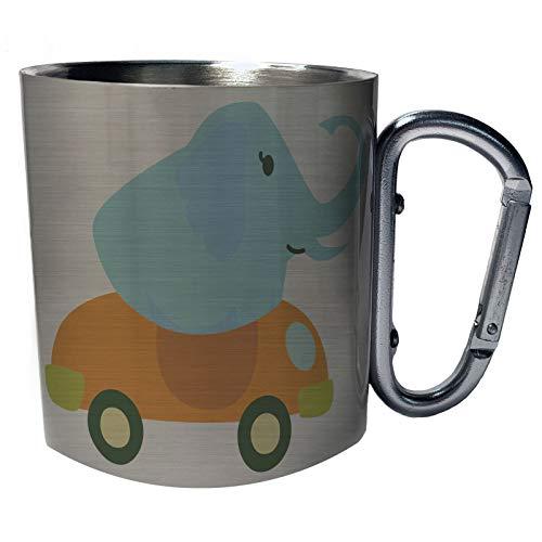 Elefant conduciendo un descapotable Taza de viaje mosquetón de acero inoxidable 11oz v988c