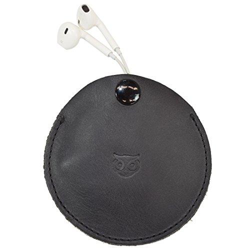 Portable Kopfhörer Case/in-Ear aus Leder/Kopfhörer und Kabel Organizer Tech Aufbewahrung Handgefertigt von Hide & Trinken:: Anthrazit Schwarz - Aus Kopfhörer-case Leder