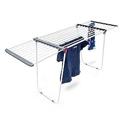 Relaxdays Trockenständer, ausziehbar, aus Stahl, Trockenlänge ca. 18 m, Wäscheständer, HxBxT: ca. 91 x 63 x 199 cm, weiß