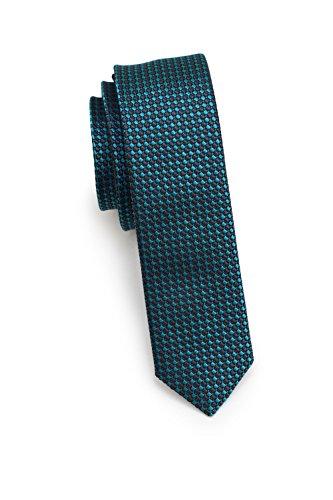 Blackbird Extra schmale Krawatte, 4 verschiedene Farben, 100% Seide, 4 cm Skinny/Slim Tie, Handarbeit (Petrol/Türkis)