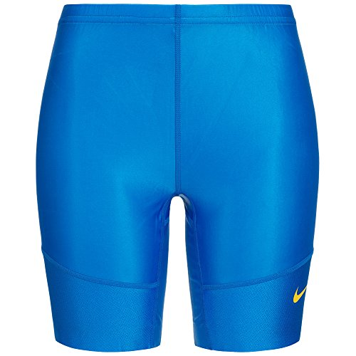 Nike Women's HALF TIGHT Dri-Fit Fietsen Hardlopen Training Shorts M Blauw-Geel (Womens Tights Running Short)