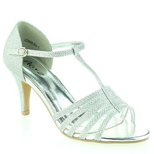Femmes Dames Orteil Ouvert doigt T Barre Svelte Talon moyen Soirée Mariage Bal de Promo Sandale Chaussures Taille Argent