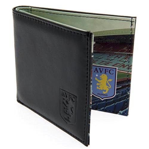 Aston Villa FC Geldbörse Leder Panorama 801Ledergeldbörse mit geprägtem Vereinswappen Panorama Stadion - Gerahmte Geldbörse Aus Leder
