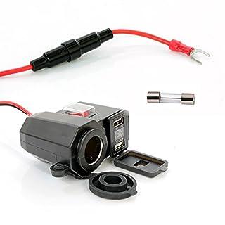 Motorrad Auto Zigarettenanzünder Motorrad dual USB-Schnittstelle 5V / 2.1A Ladegerät Für Die Mobile Navigation DC 12V Lade schwarz