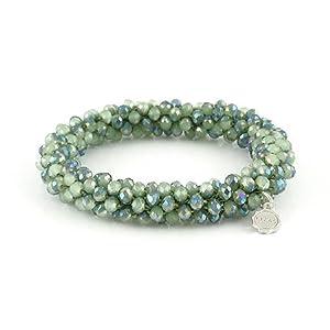 10001315 grün metallic Jacksonville Armband Lizas Glasplerlen