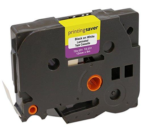 TZe231 TZe 231 Nero su Bianco 12mm x 8m Cassetta Nastro per Etichette compatibile per Brother P-Touch PT-1000 1005 1010 3600 D210 D210VP D400 D450VP D600VP E100 H101C H101GB H105 H110 H300 P700 P750W