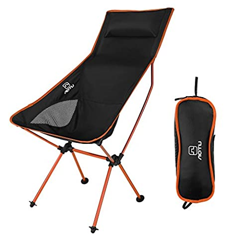 Maudpower Lightweight Outdoor Folding Chair – Heavy duty, Anti-Sink, Portable, Durable for Camping Beach Hiking Fishing Hunting BBQ Picnic