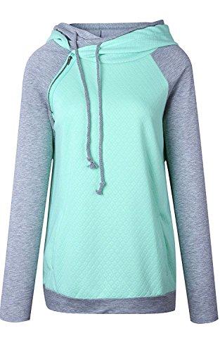 Helury Damen Hoodie Sweatshirt Kaputzen Pulli Pullover Kontrastfarbe Kaputzenpullover Sweater Oberteile Hellgrün