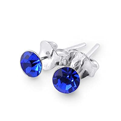 Round Set Blue Sapphire Crystal SEPTEMBER Birthstone 925 Sterling Silver Stud Earrings