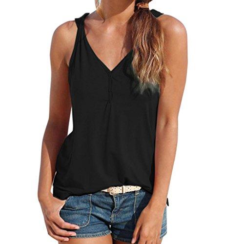 OYSOHE Damen Knopfweste Neueste Womens Sommer Riemchen Weste Top Ärmelloses Shirt Bluse Casual Tank Tops (L, Schwarz) - Mandarin Kragen Ärmellos