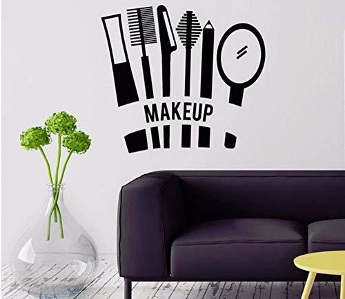 Lvabc 42X46 Cm Schönheitssalon Wandtattoos Make-Up Kosmetik Wandaufkleber Für Schlafzimmer Cool Stylist Für Mädchen Vinyl Aufkleber Dekoration (Cool Und Einfach Make-up Für Halloween)
