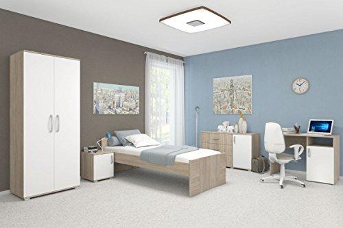 Schlafzimmer Komplett – Set A Savai, 5-teilig, Farbe: Eiche / Weiß