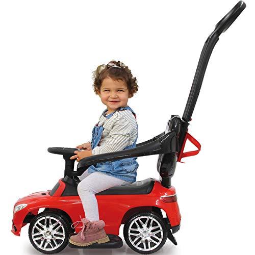 Stimo Mercedes Benz AMG Rutschauto (offiziell lizenziert) Kinder Fahrzeug Rutscher Auto (AMG GLE63 Coupe ROT Haltegriff mit Lenkfunktion)