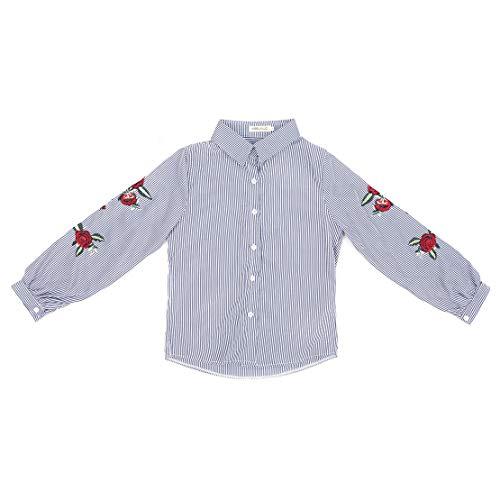 Sanzhileg camicetta a maniche lunghe da donna camicie stile coreano estivo camicetta a maniche lunghe a righe larghe ricamate a strisce da donna