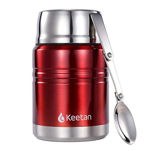 0f15a52671e1 Keetan Vacuum Insulated Food Flasks BPA Free Stainless Steel Food  Containers with Folding Spoon Lunch Box(500 ML, Red)