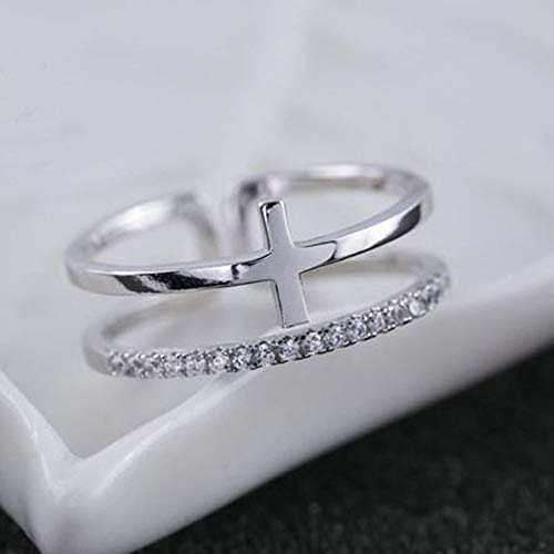 Crystal Cut Cross (HDDWZH Woman Ring,925 Sterling Silber Ringe Cross Double Crystal Ring Offene Ringe Mädchen Frauen Geschenk Schmuck Geburtstagsgeschenk)