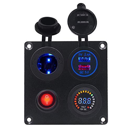 BlueFire Aufgerüstet Aluminium 12v Schalter Panel, mit QC3.0Quick Charge USB Steckdose, Zigarettenanzünder, LED Voltmeter, EIN/Aus Schalter, 12v-24v Wasserdicht für Auto Boot LKW RV ATV Fahrzeuge -