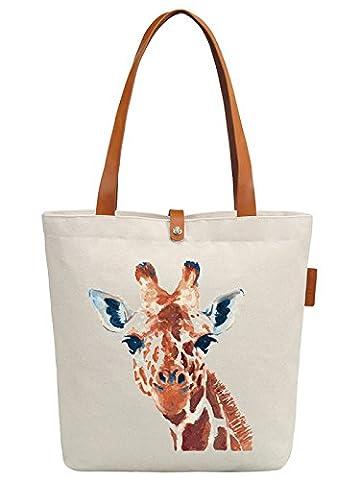 So'each Women's Giraffe Art Painting Graphic Top Handle Canvas Tote Shoulder Bag