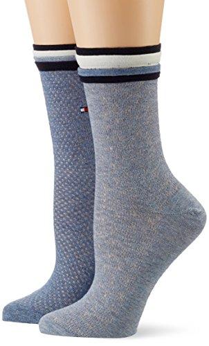 Hilfiger Tommy Denim (Tommy Hilfiger Damen TH Women Global Welt Sock 2P, 2er Pack, Blau (Jeans 356), 39/42)