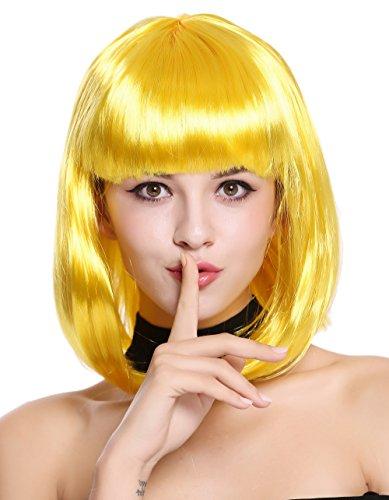 Peluca amarilla corta brillante para cosplay