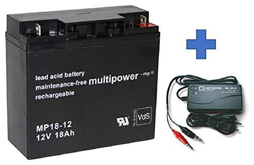 Set Q-Batteries BL 12-3 Ladegerät 3A + Multipower MP18-12 Batterie Bleigel Akku 12V 18Ah passend zu 17Ah 18Ah 19Ah 20Ah
