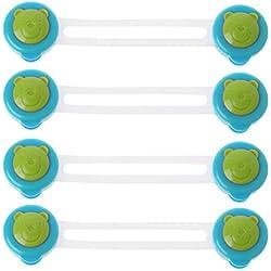 A0127 Verrou de sécurité Verrou de sécurité pour bébé Levier de verrouillage de sécurité Armoire à tiroirs réfrigérateur porte de l'appareil Plastique invisible 4 pièces/lot (bleu)