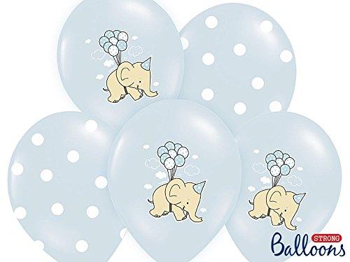 12 palloncini lattice 30 cm celeste pois elefante compleanno nascita bambino