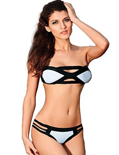 Yummy Bee Bikini Donna Mare Nero E Bianco Imbottito Con Fasciatura Taglia 34 - 40 Nero