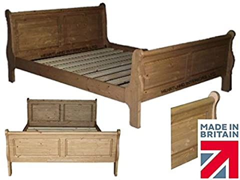 Solid Pine Handcrafted & Waxed Sleigh Bed frame, Bedstead. Various Sizes, Choice of Colours (SK6FT9) Free onsite Assembly! (6ft Super