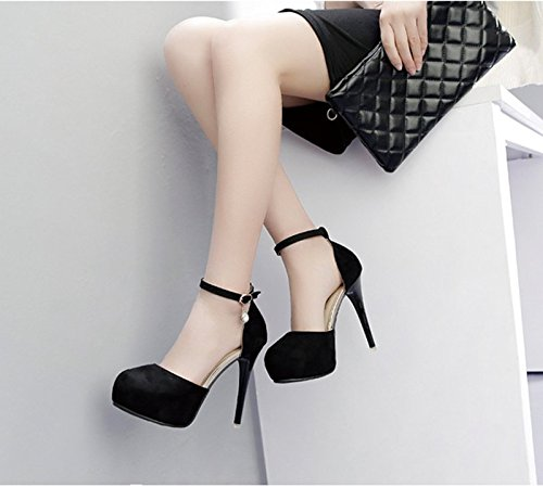 GTVERNH-la primavera e l'estate 8.5cm scarpe nere tacchi a spillo diamond fibbia parte aria baotou taiwan sono impermeabili i sandali scarpe,37 Thirty-five