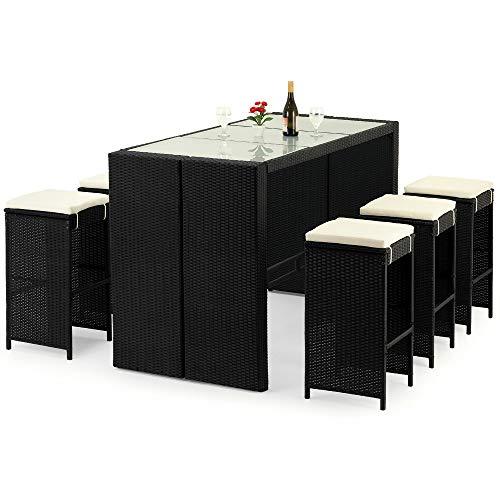 Deuba Poly Rattan Sitzgruppe Bar Set   6 Barhocker mit Auflagen   Bartisch Milchglas   Garten Outdoor Gartenmöbel Set