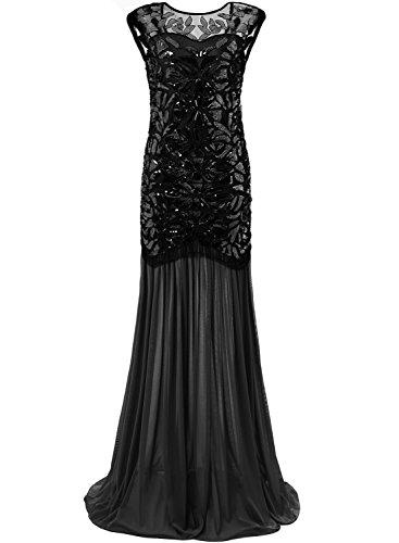 Bbonlinedress Vintage Femme Robe de soirée Robe de bal 1920s Gatsby pailleté années 20 Black