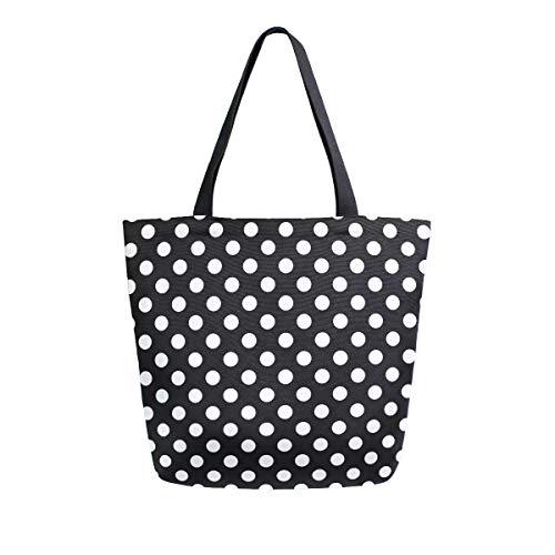 ZZKKO Einkaufstasche aus Segeltuch, gepunktet, für Damen, Lehrer, Schwarz und Weiß, Baumwolle, wiederverwendbar, Mehrzweck-Verwendung -