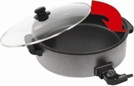 elektrischer topf mit thermostat AFK, elektrische Pizzapfanne/ Partypfanne/Paella-Pfanne XXL 42 cm, Universal-Zubereiter anti-Haftbeschichtet
