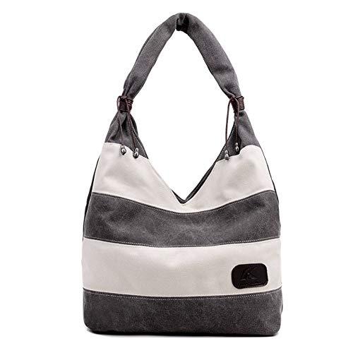 WanJiaMen'Shop Gestreifte EIN-Schulter-Handtasche, 40x32x14,5 cm, grau