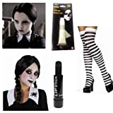 Wednesday Addams Costume Plait Wig Black White Socks Paint Lipstick Halloween by NeonCandyUK