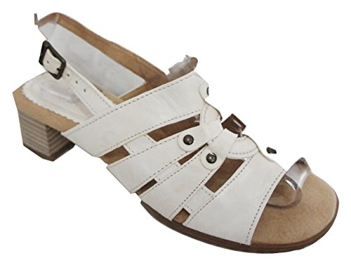 "Gabor ""Linie Malte confortable faible talon Sandales White/ Off White"