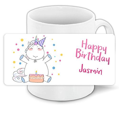Einhorn-Tasse mit Namen Jasmin und schönem Motiv zum Geburtstag für Mädchen   Geburtstagstasse mit Einhorn