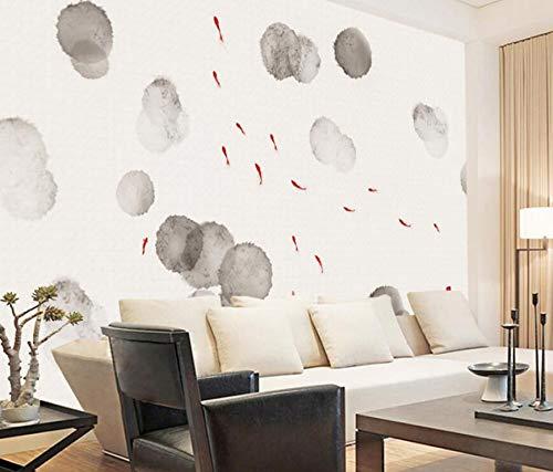 Einfache lotos teich fisch tinte hintergrund wand benutzerdefinierte wandbild abstrakte wohnzimmer TV video wand vliestapete 200 cm * 140 cm