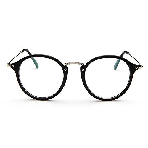 Forepin® Lunettes de Vue Rondes Unisex Cadre Frame Lentille Claire pour Homme et Femme Vintage - Transparent Noir